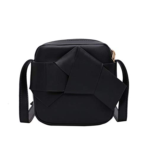 Women Leather Bow Shoulder Bag Cute Crossbody Bags with Adjustable Strap