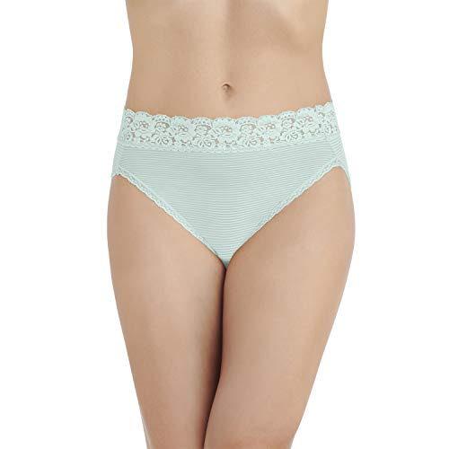 Vanity Fair Women's Flattering Lace Hi Cut Panty 13280, Herbal Mist Stripe, X-Large/8