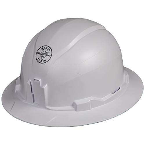 - Klein Tools 60400 Hard Hat, Non-Vented Full Brim Style, Padded, Self-Wicking Odor-Resistant Sweatband, Tested up to 20kV, White