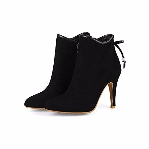 Otoño e Invierno decorativos metálicos afilados tacones tacon fino señoras elegantes botas cortas black