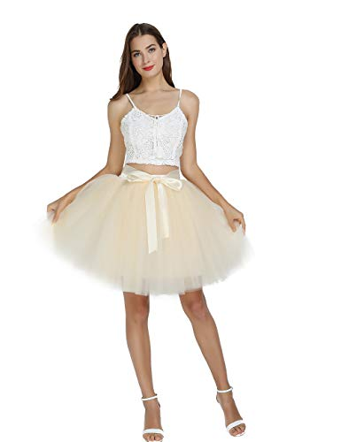 Women's High Waist Princess Tulle Skirt Adult Dance Petticoat A-line Short Wedding Party Tutu Beige]()