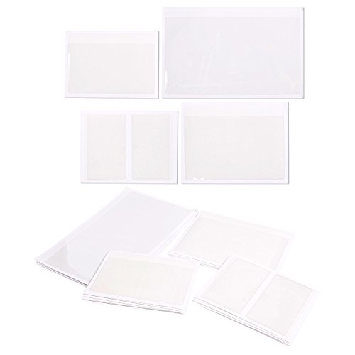30-Pack Self-Adhesive Card Pockets with Open Sides - Ideal for Organizing and Protecting Index Cards, Business Cards or Photos - Crystal Clear Plastic, 4 Different Sizes