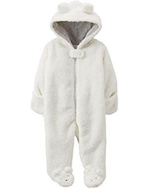 Carters Infant Boys & Girls Plush Ivory Faux Shearling Coverall Snowsuit Pram