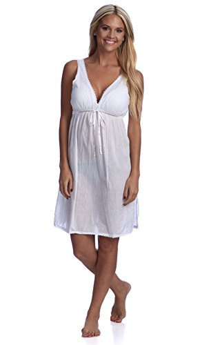 Handmade Women 's Deep V-Neck Lace Trimmed Nightgown White Small / - Trimmed Lace Nightgown
