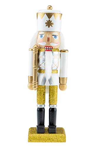 Clever Creations Wooden Glittery Soldier Nutcracker | Gold, Silver, and White Uniform Holding Baton | Festive Traditional Christmas Decor | 10