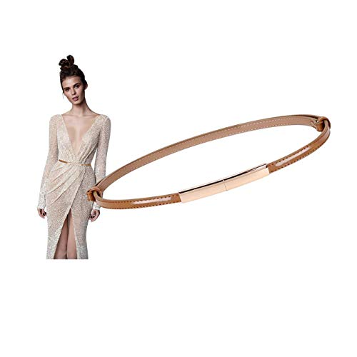 Skinny Hip Belt - Women Brown Dress Belt Skinny Patent Leather Belt With Gold Buckle Fashion Thin Waist Belt Elegant Belt