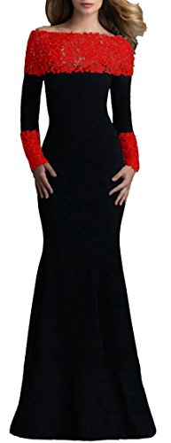 - made2envy Boat Neck Mermaid Long Sleeves Lace Decorated Evening Gown (L, Red) V1020LR