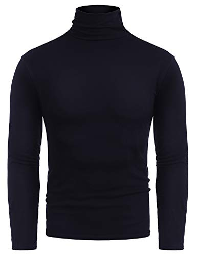 (RAGEMALL Mens Casual Slim Fit Thermal Turtleneck Pullover Sweaters Basic Designed Navy Blue M)