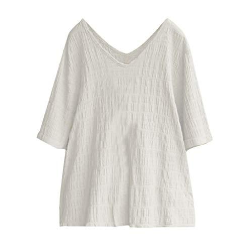 Toimothcn Cotton & Linen Shirt Womens Solid V-Neck Short Sleeve T Shirt Loose Vintage Tunic Tops Blouse(White,M) ()