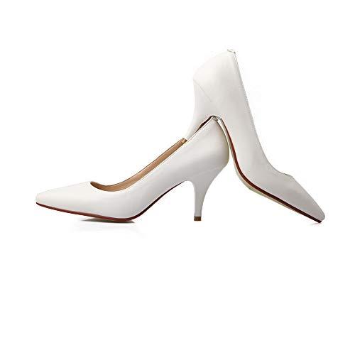 Agoolar Femme Correct Légeres Tire Gmbdb013266 Blanc Chaussures Couleur Talon À Unie wgaTa6Cq