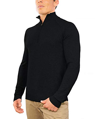 Comfortably Collared Men's Perfect Slim Fit Lightweight Soft Fitted 1/4 Quarter Zip Pullover Sweater, Medium, Black