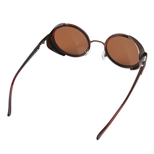 [NeverStop Fashion Steampunk Sunglasses 50s Round Glasses Cyber Goggles Vintage Blinder] (Cyclops Visor Costumes)
