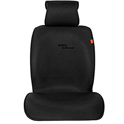 Sojoy IsoTowel Car Seat Cover. Microfiber Seat Protector, with Quick-Dry, No-Slip Technology. Car seat Protection for All Workouts, All-Weather (Carbon Black): Automotive