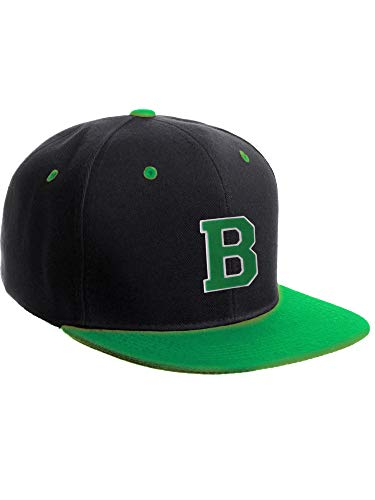 (Classic Snapback Hat Custom A-Z Initial Raised Letters, Black Green Hat White Green Initial)
