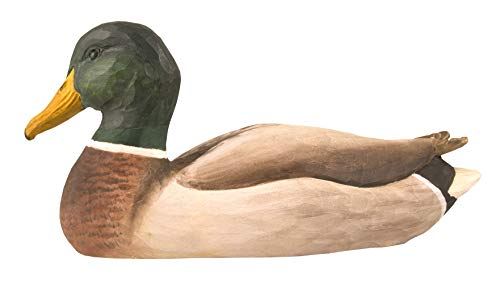 (WILDLIFEGARDEN Male Mallard DecoBird, Hand-Carved Wood Replica for Indoor or Outdoor Use, Artisanal Life-Like Figurine Designed in Sweden )