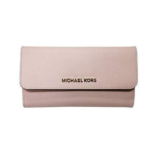 Michael Kors Jet Set Travel Large Trifold Leather Wallet Blossom Pink