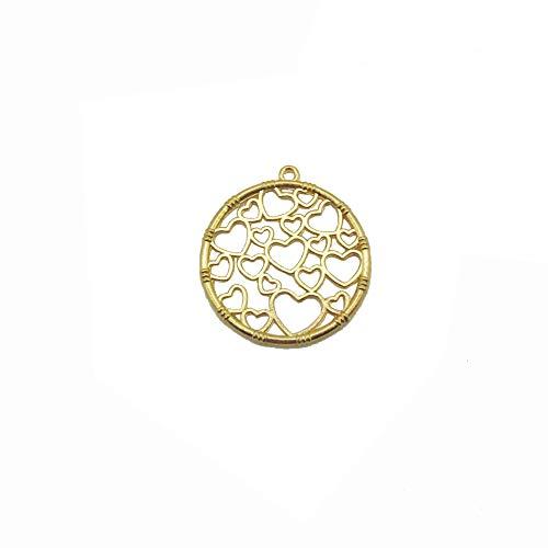 (10 Pcs Round Heart Open Back Bezel Pendant Open Back Frame for UV Resin Crafts Jewelry Making)