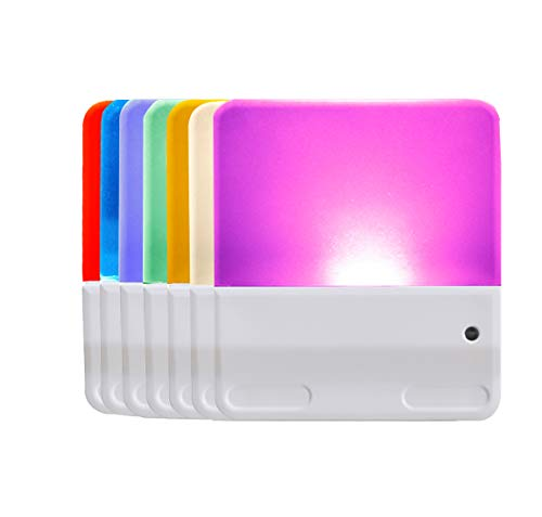 Multicolor Night Light 2 Pack, Plug in Color-Changing Nightlight, Dusk to Dawn Sensor, Brightness Adjustable Warm White Night