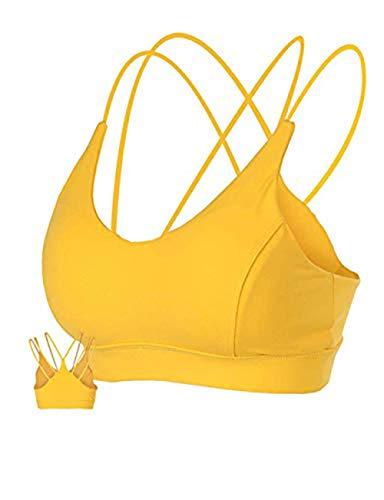 MotoRun Womens Push-Up Padded Strappy Sports Bra Cross Back Wirefree Fitness Yoga Top Lemon Yellow, Medium