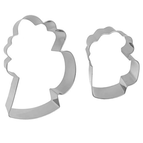 Antallcky Drink Mug Cookie Cutter Set-2 piece-Beer Beverage Drink Cup Stainless Steel Biscuit Molds Fondant Cookie Cutter Set Pastry Mold-1 Inch Depth