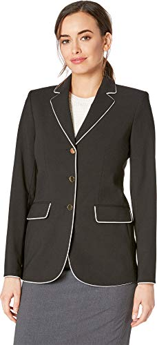(Calvin Klein Women's Woven Button Front Jacket Black/Cream 4)