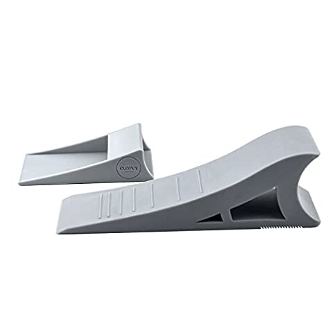 Quality Clever Decorative Rubber Door Stopper, Tall and Adjustable To Fit All Doors, Solid Stable Base, Easy To Move Without Bending Down, Hanger Mounts on Back of Door or Wall to Eliminate Clutter