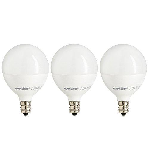 Sunlite G16.5/LED/5W/D/E12/FR/ES/27K/3PK Dimmable Energy Star 2700K Candelabra Base Warm White LED Globe G16.5 5W Light Bulb (3 Pack), Frosted