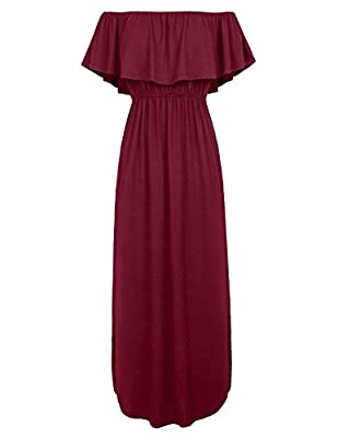 GRACE KARIN Womens Off The Shoulder Ruffle Party Dresses Maxi Dress CLAF0229