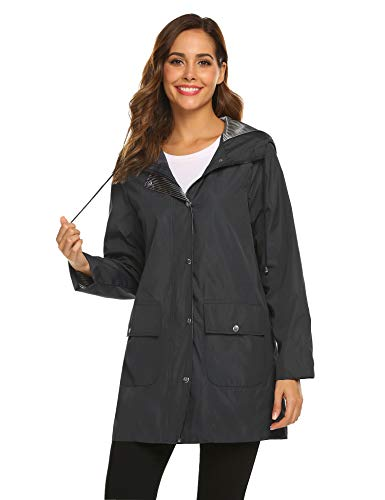SUNAELIA Rain Jacket Women Waterproof with Stripe Liner Hood Lightweight Raincoat Outdoor Windbreaker Trench Coat S-XXL Black ()