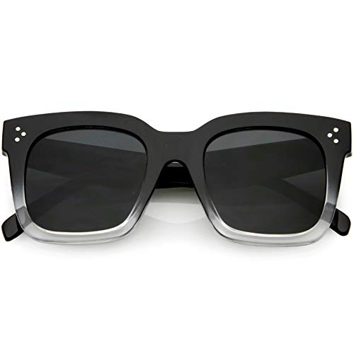 zeroUV - Bold Flat Lens Oversized Square Frame Horn Rimmed Sunglasses 50mm (Black-Clear -