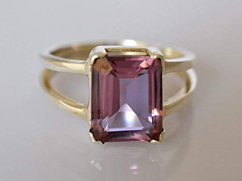 Lab Created Alexandrite Ring - 100% Color Change Lab Created Alexandrite 925 Solid Sterling Silver Ring 3-13 US