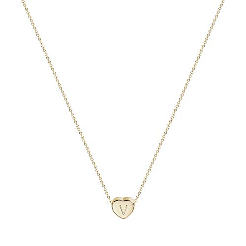 Valloey Tiny Gold Initial Heart Necklace, 14k Gold Filled Delicate Cute Dainty Charm Initial Alphabet Letter Love Heart Choker Necklaces for Women Child Kids Girls Personalized Gifts(V)