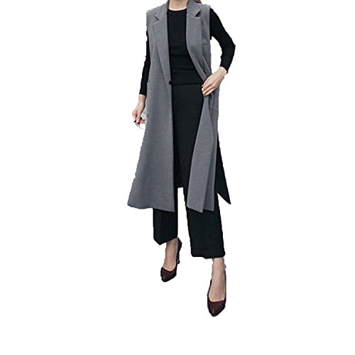 Style-plus-Selfdom Women Long Vest 2018 Spring Autumn Sleeveless Blazer Long Vests of Women,Vest,S by Style-plus-Selfdom
