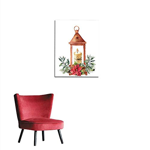 "longbuyer Home Decor Wall Watercolor Christmas Lantern with Candle and Decor Hand Painted Traditional Lantern with Christmas Plant Isolated on White Background for Design or Print Mural 24""x36"""