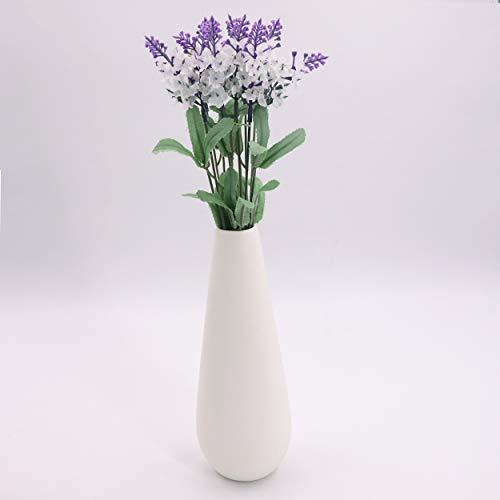 APSOONSELL Modern Elegant Ceramic Flower Vase,White Decorative Vase for Home Decor, Taper White -M ()
