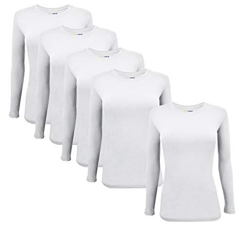 Natural Uniforms Women's Under Scrub Tee Crew Neck Long Sleeve T-Shirt 5-Multi Pack (Medium, 5 Pack- White)