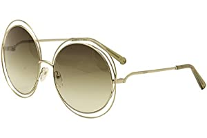 Chloe Women's Carlina Round Gold/Transparent Green Sunglasses