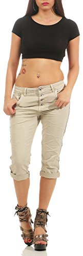 Karostar Chino Jeans pour Femmes Capri Baggy Bermuda 3/4 Pantalon Rayures 043 Beige