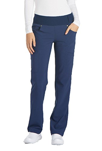 Cherokee Women's iflex Mid Rise Straight Leg Pull-on Pant,Navy,Medium Regular ()