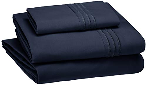 AmazonBasics Embroidered Hotel Stitch Sheet Set - Premium, Soft, Easy-Wash Microfiber - Twin, Navy Blue