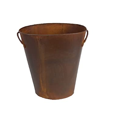 Craft Outlet Inc Craft Outlet 12  Rustic Waste Basket W/Handles, Rust