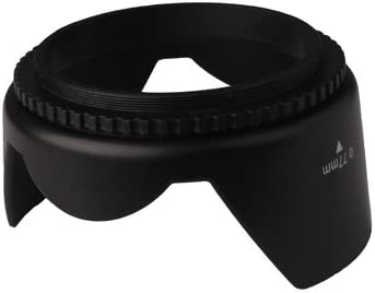 Black Screw Mount Durable CAOMING 77mm Lens Hood for Cameras