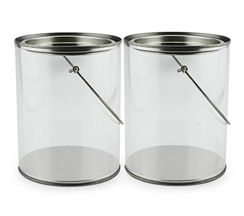 "Quart Size Clear Plastic Paint Cans (2-Pack); Decorative Faux ""Paint Pails"" w/Handle & Bale for Crafts, Decorating, Baby Shower/Wedding Shower Decor"