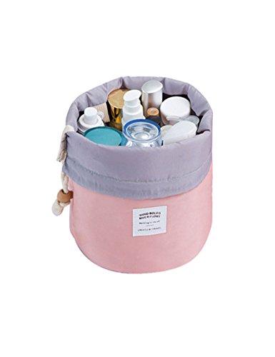 Pouch Round 20 Nylon (Ladies Makeup Pouch,POTO Women Girl Portable Cosmetic Beauty Travel Round Storage Bag Makeup Case Clutch Organizer Makeup Bag Gargle Toiletry Bag RY-692 (Pink))