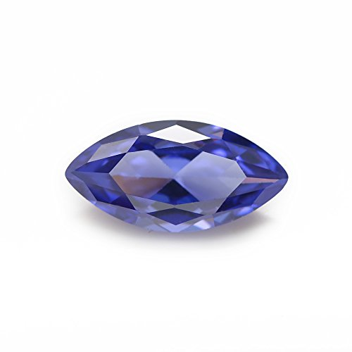 (50PCS Size 3x6~10x20mm AAAAA Tanzanite Marquise Shape Princess Cut Europe Machine Cut Loose CZ Cubic Zirconia Gemstone (5x10mm)