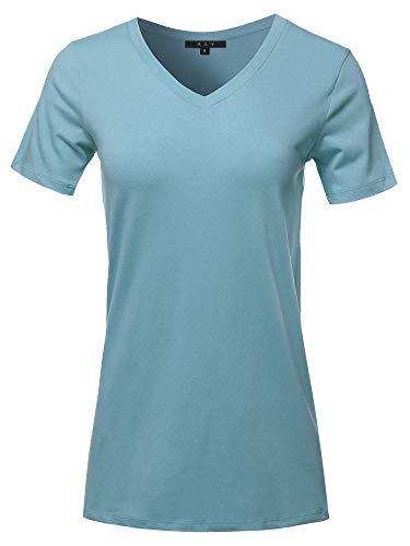 (Basic Solid Premium Cotton Short Sleeve V-Neck T Shirt Tee Tops Titanium 1XL)