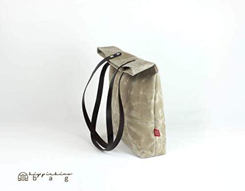 398ff56cd19d Amazon.com  Beige Waxed Canvas Tote Bag with Leather Strap