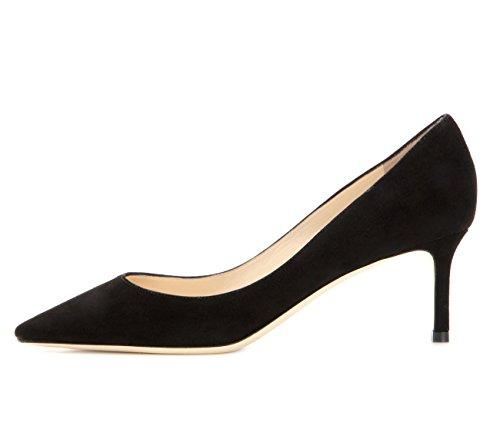 Grande Talons Noir Escarpins Ubeauty Chaussures Taille Suede Aiguille Haut Stilettos 65mm Talon Femme Femmes 6HHxnOw0