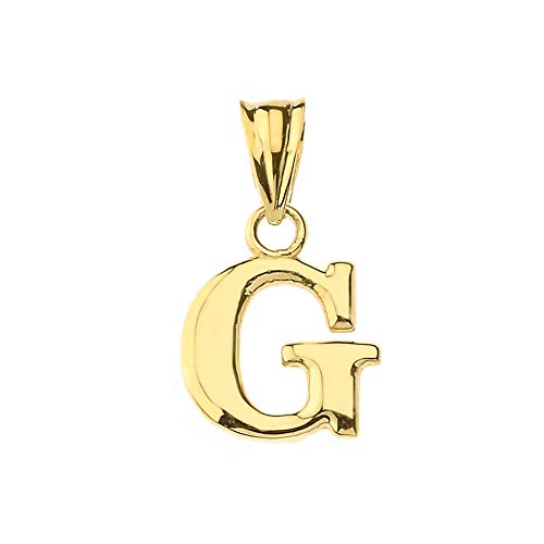 Fine Personalized Initial G Charm Pendant in Solid 14k Yellow Gold