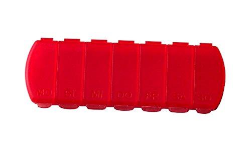 MaxBox - Pillendose für 7 Tage, Tablettendose, Pillenbox mit getrennten Fächern - rot